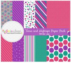INSTANT DOWNLOAD, tutus and hightops digital paper pack, green, purple, pink, digital scrapbooking paper, digital backgrounds, girls paper