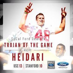 Trojan of the Game... Andre Heidari!!! He made is career best field goal of 53 yards!!! FIGHT ON!!