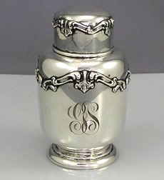 A sterling silver tea caddy by Frank Whiting with applied decoration on the pull off lid and around the body. Monogrammed with a script monogram. Tea Canisters, Tea Tins, Vintage Silver, Antique Silver, Vintage Tea, Tea Caddy, Tea Art, Silver Spoons, Tea Service