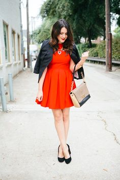 Red Dress, Black Shoes.