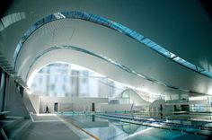 Ian Thorpe Aquatic and Fitness Centre is a fitness centre in Ultimo, New South Wales, a suburb of Sydney, Australia. Named for swimming champion Ian Thorpe, it was one of the last buildings designed by architect Harry Seidler, and is noted for its curved roof design that suggests a breaking ocean wave. #ianthorpe #aquatic #fitnesscentre #ultimo #architecture #newsouthwales #southwales #unique #curves #swimmingpool #australia