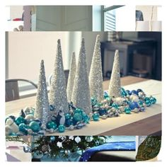 48 Exciting Silver And Blue Decor Ideas For Christmas And New Year Artificial fir tree as Christmas decoration? An artificial Christmas Tree or even a real one? Teal Christmas Decorations, New Years Decorations, Christmas Centerpieces, Christmas And New Year, White Christmas, Christmas Crafts, Christmas Mantles, Victorian Christmas, Christmas Trees