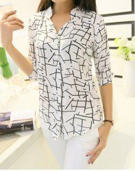 V-Neck 3/4 Sleeves Printed Stylish Blouse For Women (AS THE PICTURE,XL) | Sammydress.com Mobile