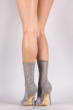 Liliana Floral Lace Pointy Toe Fitted Stiletto Booties