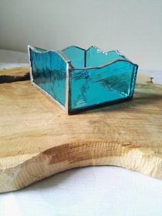 Etsy の Kaarsenhouder van blauw glas in lood by CreaTries1