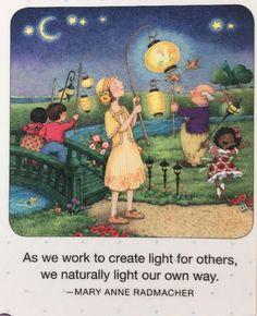 Handmade Fridge Magnet-Mary Engelbreit Artwork-As We Work To Create Light