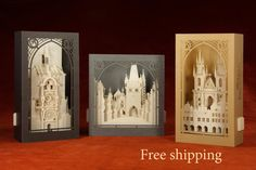 Pop up Cards 3d Collection Free Shipping. Prague paper scale models: Astronomical Clock, Charles Bridge, The Church of our Lady before Tyn