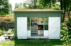 shed with sliding glass door