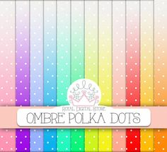 "Ombre digital paper: ""OMBRE POLKA DOTS"" with ombre polka dots background, dip dye rainbow watercolor for invitations, cards, scrapbooking #polkadots #watercolor #planner #colorful #red #pink #blue #yellow #digitalpaper #scrapbookpaper"