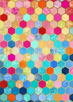 Patterned Honeycomb Patchwork in Jewel Colors Art Print