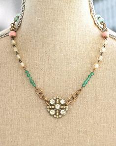 Evelyn.vintage rosary style pastel beaded rhinestone necklace. tiedupmemories
