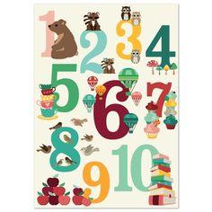 Poster Cijfers tellen A2 formaat.Met deze vrolijke cijfer poster leren kinderen op een speelse manier tellen en de cijfers herkennen. Ontzettend leuk om te combineren met de alfabetposter en de tafeltjes poster.  Afmeting A2, (29,7cm breed en 42cm hoog)  geprint op 170 grams kunstdruk papier. Geleverd exclusief ophangsysteem. Ontwerp: Oktoberdots.