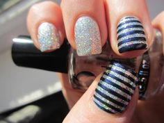 navy blue and silver sparkle striped nails love it!