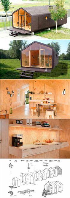 Wikkelhouse: modelo compacto de residência feita com módulos de papelão enrolado. É leve, dispensa fundação e também pode ser transportada. Custa US$ 8.000,00.