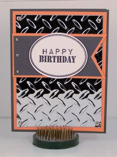 Great masculine birthday card. I love the shiny background.
