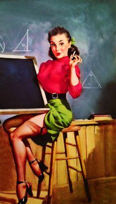 RARE 12x18 Elvgren TEACHERS PET Up skirt 40s by VANGUARDGALLERY, $49.95