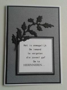 Condoleancekaart met tak en tekst in grijs.zwart.wit.