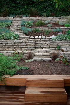 Reusing Broken Concrete For Retaining Wall Garden
