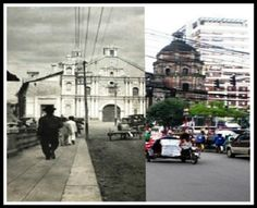Binondo Church then and now photo Then And Now Photos, Manila, Filipino, Historical Photos, Philippines, The Past, Street View, History, Awesome