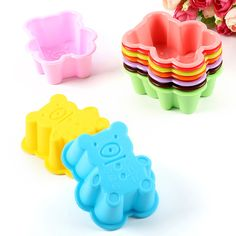 XIBAO Hot Sale 10Pcs Silicone Bear Shape Cake Mold Soap Jelly Muffin Cup Kitchen Dining Bar Supplies Bakeware Tools MK1721 #Affiliate