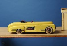 Nice vintage wooden painted Roadster by Brio of Sweden. Age estimate This 11 wooden car is painted yellow overall with a red and black steering wheel and seat. Brio label/sticker on the f. Wooden Car, Brio, Cars, Vintage, Woodworking Tools, Woodworking Toys, Autos, Car, Vintage Comics