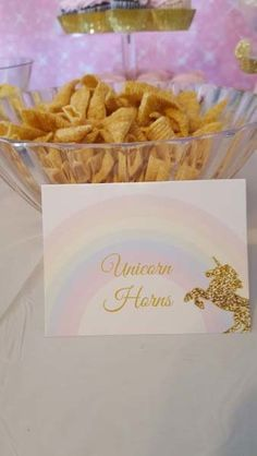 birthday party food Unicorn food tents are white with a rainbow and golden unicorn on them. You can also use them for place cards at birthday parties, baby showers & weddings. Diy Unicorn Birthday Party, Rainbow Unicorn Party, Rainbow Birthday, Unicorn Birthday Parties, Birthday Party Games, Birthday Ideas, Fairytale Birthday Party, Party Themes, 5th Birthday Party Ideas