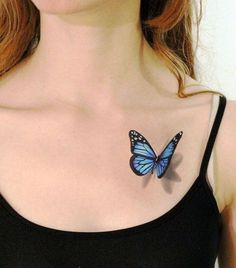 Blue Butterfly Tattoo For Young Girls Girl Back Tattoos, Cool Chest Tattoos, Chest Tattoos For Women, Couple Tattoos, Blue Butterfly Tattoo, Butterfly Tattoos For Women, Butterfly Tattoo Designs, 3d Tattoos, Unique Tattoos