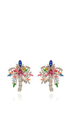 Palm crystal earrings by SHOUROUK Now Available on Moda Operandi