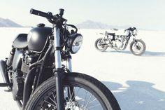 The British Customs bikes awaiting their turn. Bonneville Speed Week