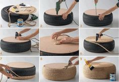 tuto pouf/table basse en pneu et corde                                                                                                                                                     Plus