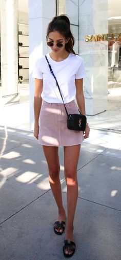 #Summer #Outfits / Pink Skirt + White T Shirt