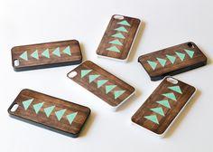 Teal Mint Geometric on Wood iphone 5 case , Geometric iphone case , iphone 4 case , iphone 4s case , triangle , wood iphone case. $16 via Etsy.