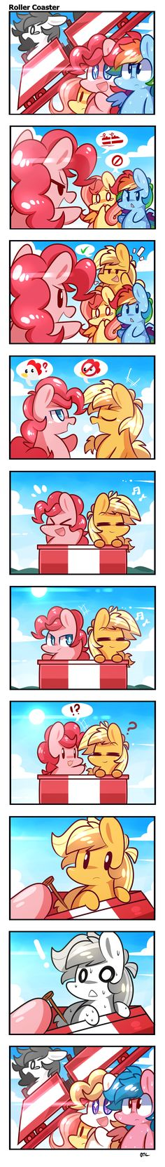 Roller Coaster by ILifeloser.deviantart.com on @deviantART pinkie: ROLLER COASTER, you coming? fluttershy: n-no... dashie: i um, i should stay with flutters...yeah. AJ: i'll come. pinkie: not scared? AJ: nope. (on the roller coaster) pinkie: look at what i found! AJ: O_o wha-end 'u'