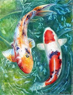 Koi Painting, Turtle Painting, Finger Painting, Acrylic Painting Canvas, Koi Art, Fish Art, Water Paint Art, Koi Carp Fish, Drawing Course