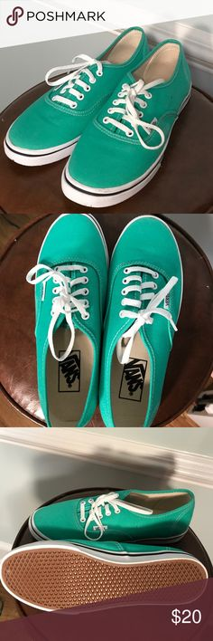 Teal VANS Worn once or twice teal colored Vans! They have a small stain on the side but it's very unnoticeable. Size Men's 6 and Women's 7.5! Vans Shoes Sneakers