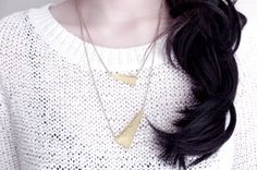 Points Hammered Brass Layered Necklace
