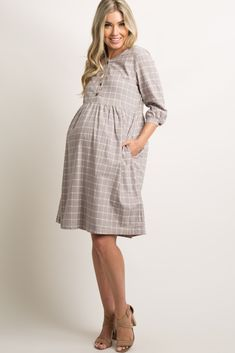Taupe Plaid Print Button Babydoll Dress