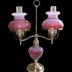 Fenton Cranberry Hobnail Opalescent Double Arm Lamp