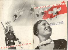 Die Schweiz im Schnee, brochure by Herbert Matter for the Swiss Tourist Office. 1936, Cover