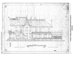 Blueprints of The Gore, the Goldie mansion in Ayr, Ontario - designed by William Mellish of Brantford, Ontario. Building Design, Ontario, Buildings, How To Plan, Mansions, History, Architecture, Arquitetura, Historia