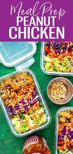 These Peanut Chicken Meal Prep Bowls come together withsautéedchicken, a rainbow of veggies and a delicious peanut sauce for a healthy make ahead, low carb lunch idea! #peanutchicken #mealprep Good Healthy Recipes, Whole Food Recipes, Vegan Recipes, Cooking Recipes, Delicious Recipes, Rice Recipes, Clean Eating Recipes, Lunch Recipes, Dinner Recipes