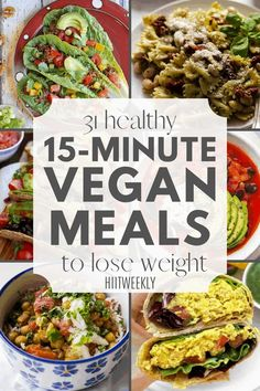 Try these quick and easy vegan meal recipes that you can make in 15-minutes or less that are ideal if you are trying to lose weight. 15-minute vegan meals. Quick Vegan Meals, Delicious Vegan Recipes, Vegetarian Recipes, Meal Recipes, Lunch Recipes, Tasty, Clean Dinner Recipes, Dinner Recipes Easy Quick, Clean Eating Recipes