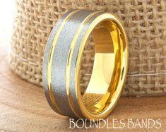 Rose Gold Wedding Band Ring 6mm 18K Two Tone Man Wedding Band