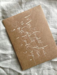 White on Kraft Calligraphy - Julie Song Ink