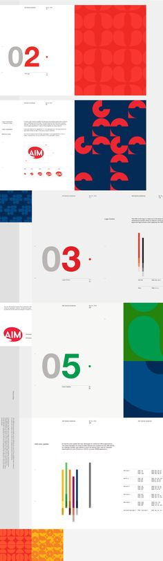 Branding guidelines, lots of negative space with facing pages of bright pattern. Bold and bright