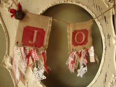 Christmas Garland Joy home decor rustic burlap fabric decorations fabric garland Joy christmas garland fabric scraps shabby cottage chic by PaperAndMache on Etsy https://www.etsy.com/listing/152597927/christmas-garland-joy-home-decor-rustic