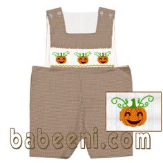 Boy smocked clothing , many new designs with lovely halloween pattern at http://babeeni.com/