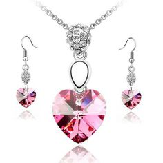 Rose Pink Crystal Heart Earrings & Pendant Set Used Swarovski Crystals by Silver_Crystal. $38.99. Metal: Rhodium Plated. Crystal: Made With Swarovski Element. Chain Length: 40cm. Earring Size: 40mm x 10mm. Pendant Size: 32mm x 14mm.
