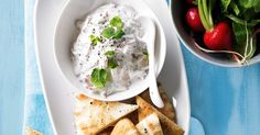 This red-hued dip uses radish instead of cucumber to make a tzatziki with bite. Vegetarian Snacks, Vegetarian Cooking, Tzatziki, Instant Potatoes, Lamb Meatballs, Fingerfood Party, Best Party Food, Cooking With Olive Oil, Party Finger Foods