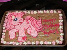 Homemade My Little Pony Cake: My daughter requested a My Little Pony Cake, pinkie pie pony cookie cake for her 3 year old birthday party.  I'm not even close to being a seasoned cake